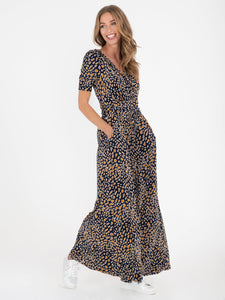 Jolie Moi Bailee Wide Leg Jumpsuit, Brown Animal