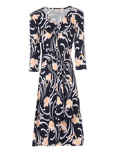 Load image into Gallery viewer, Frilly V Neck Midi Dress, Black Multi