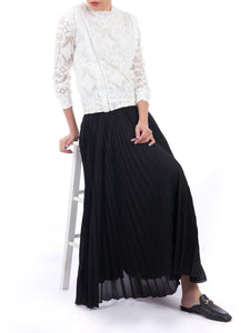 Pleated Crepe Maxi Skirt, Black