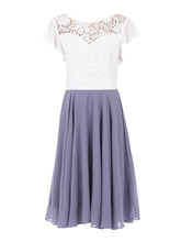 Load image into Gallery viewer, Contrast Lace Skater Bridesmaid Dress, Lavender-Jolie Moi