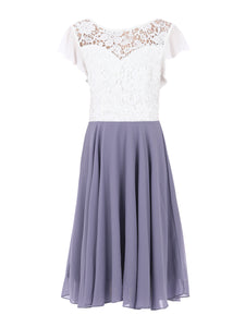 Contrast Lace Skater Bridesmaid Dress, Lavender-Jolie Moi