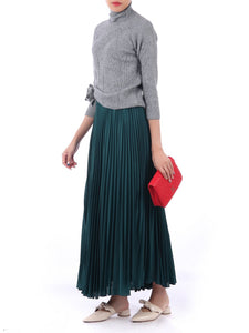 Full Circle Crepe Pleated Maxi Skirt, Teal