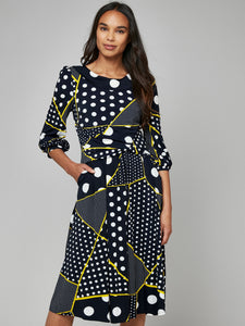 Roll Collar Tea Dress, Black Polka
