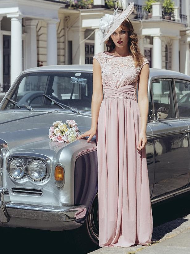 Lace Bodice Maxi Bridesmaid Dress, Mauve, Blue