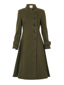 Button Front Flared Coat, Soldier Green