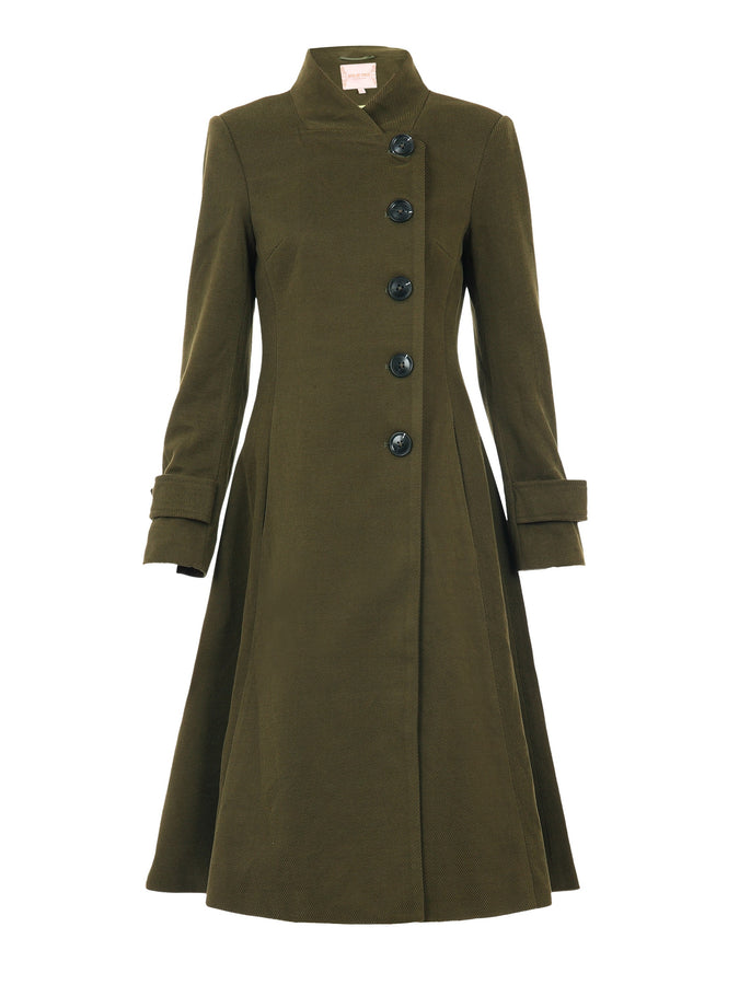 PRE-ORDER Button Front Flared Coat, Soldier Green
