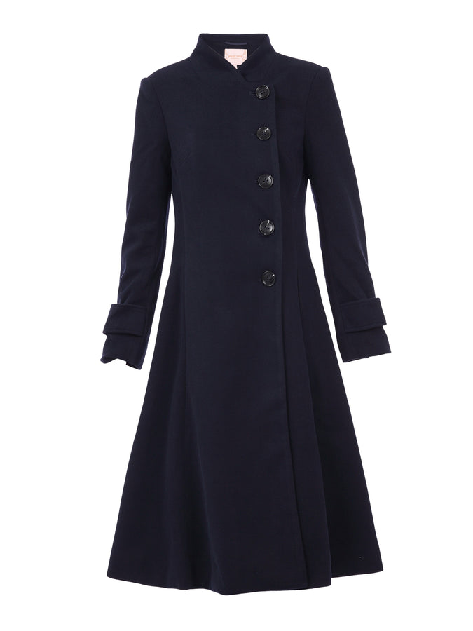 PRE-ORDER Button Front Flared Coat, Navy