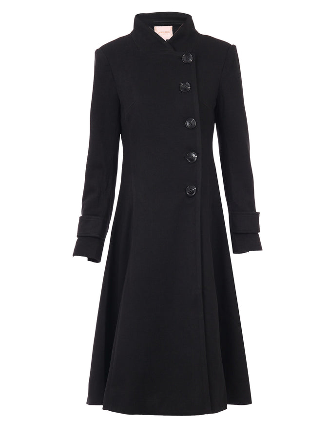 PRE-ORDER Button Front Flared Coat, Black