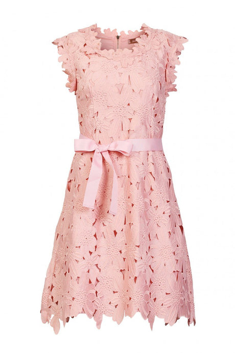 Jolie Moi Crochet Lace Dress, Blush