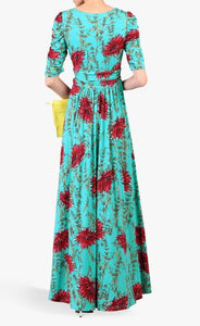 Jolie Moi Geometric Print Ruched Sleeve Maxi Dress, Green Multi