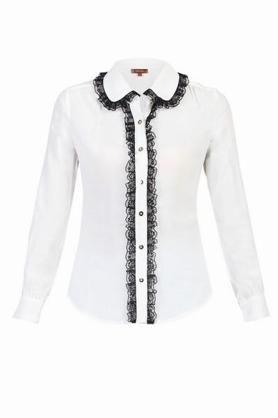 Jolie Moi Contrast Lace Trimmed Blouse, IVORY