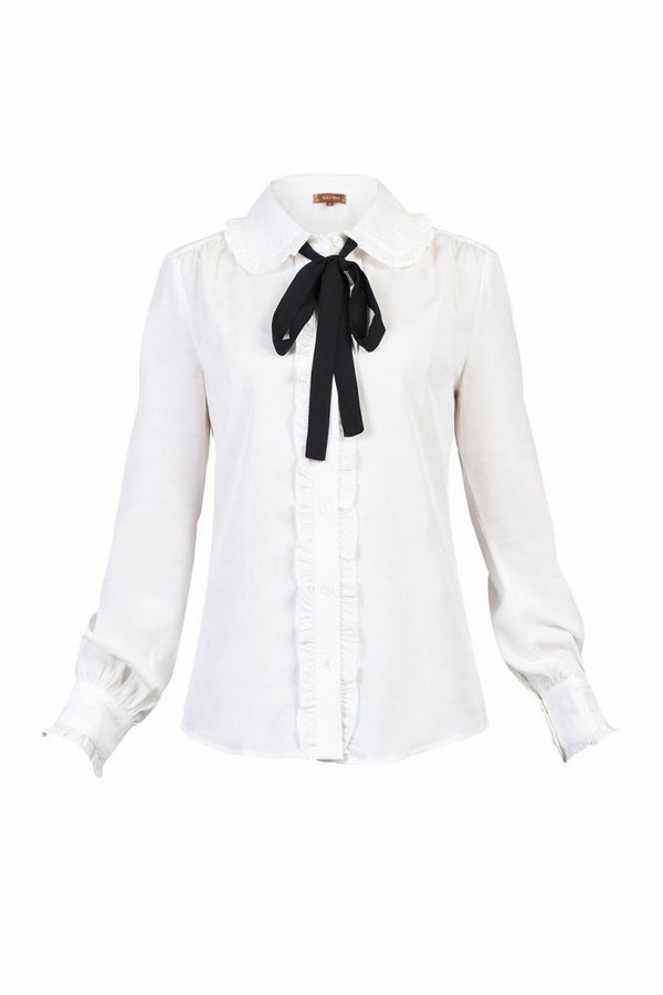 Jolie Moi Trimmed Bow Tie Blouse, Ivory
