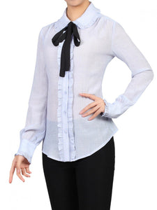 Jolie Moi Frilly Bow Tie Blouse, Blue
