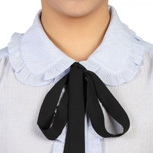 Load image into Gallery viewer, Jolie Moi Frilly Bow Tie Blouse, Blue