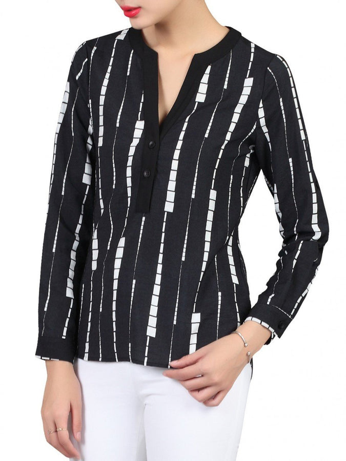 Contrast V-Neck Blouse