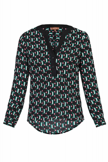 Jolie Moi Geometric Printed Blouse, Green Pattern