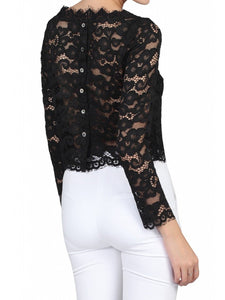 Jolie Moi Scalloped Flare Sleeve Lace Top, Black