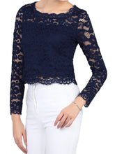 Load image into Gallery viewer, Jolie Moi Scalloped Flare Sleeve Lace Top, Navy