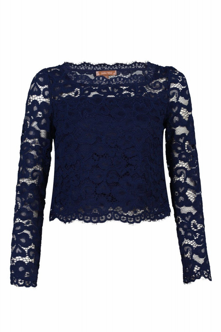 Jolie Moi Scalloped Flare Sleeve Lace Top, Navy