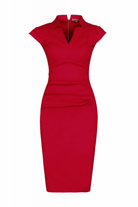 Jolie Moi High Collar Bodycon Dress, Red
