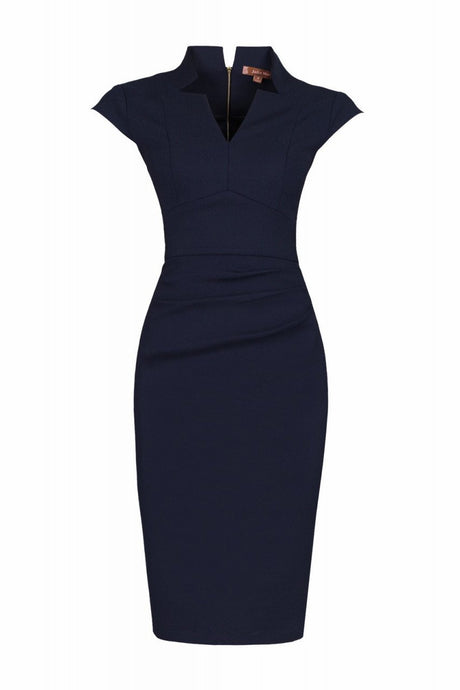 Jolie Moi High Collar Bodycon Dress, Navy