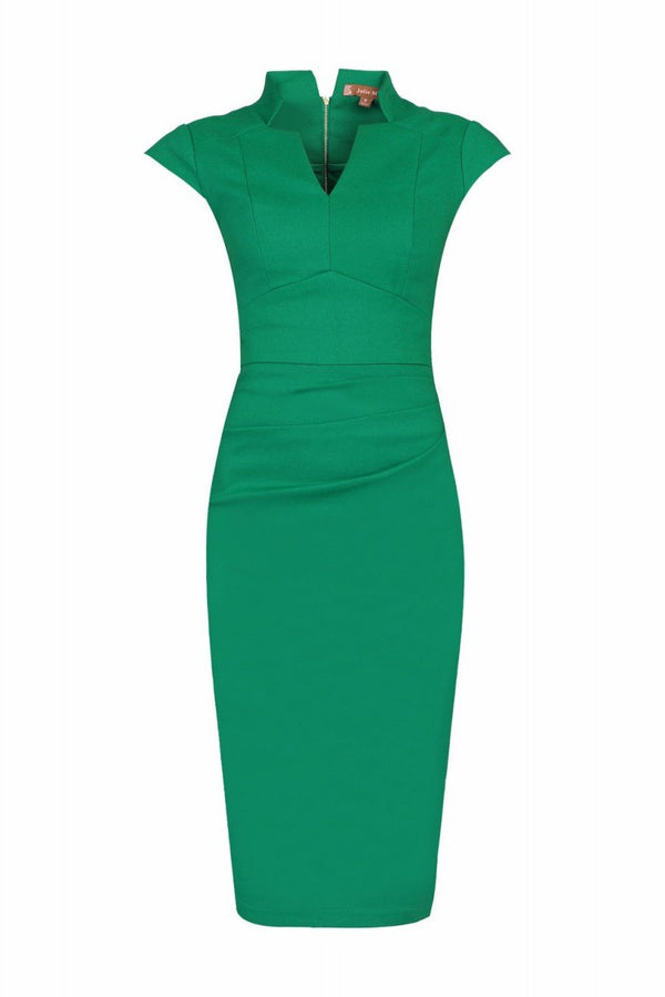 Jolie Moi High Collar Ruched Bodycon Dress, Green