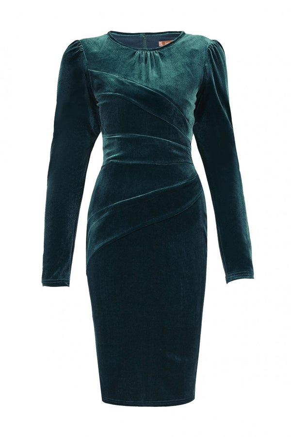 Jolie Moi Asymmetric Folded Bodycon Dress, Teal