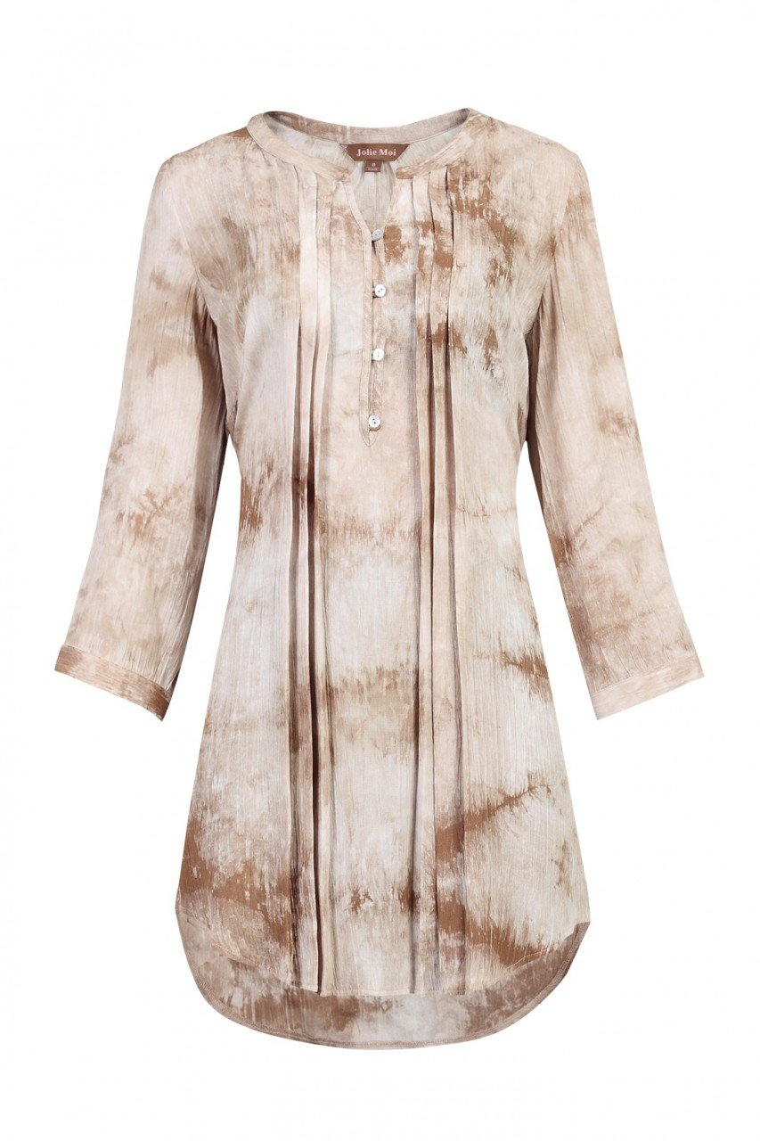 Jolie Moi Tie Dye Tunic Dress, Tan