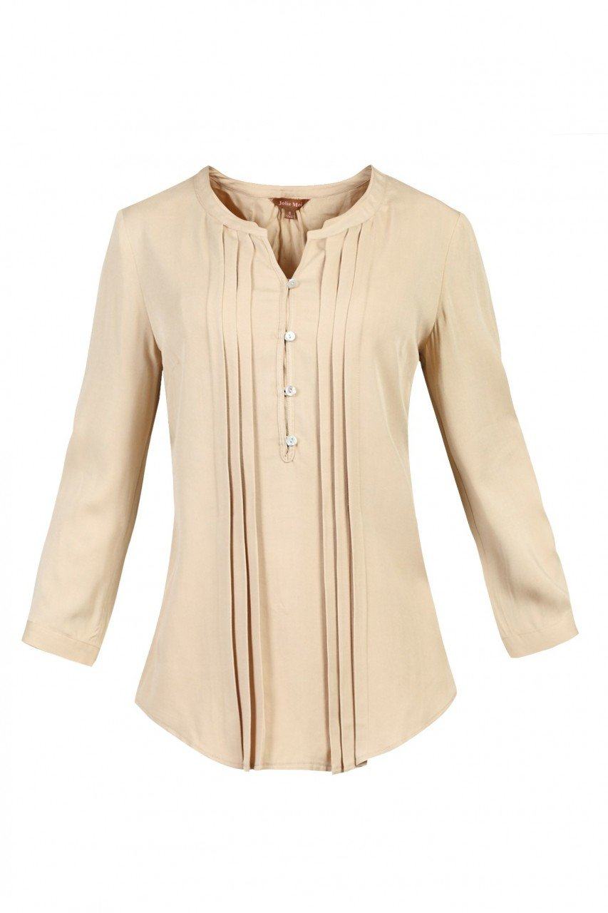 Jolie Moi Button Front Pleated Blouse, Neutral