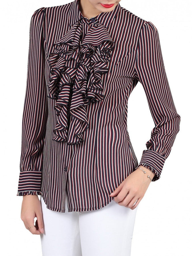 Textured Stripe Frilly Blouse