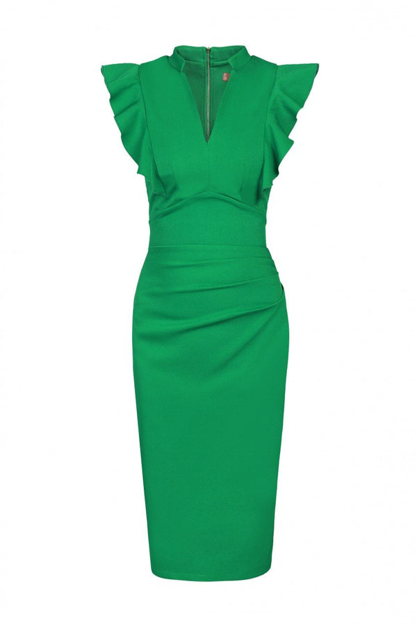Jolie Moi Frill Shoulder Bodycon Dress, Green