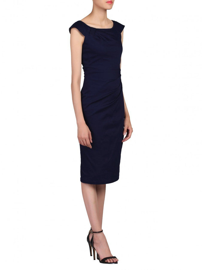 Scoop Neckline Ruched Wiggle Dress