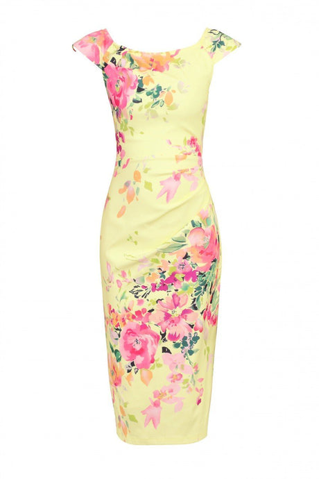 Scoop Neck Ruched Wiggle Dress, Yellow
