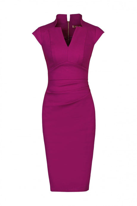 V-Neck Ruched Shift Dress