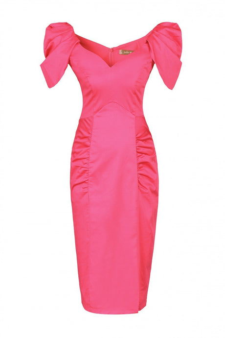 Jolie Moi Structured Shoulder Ruched Dress, Pink