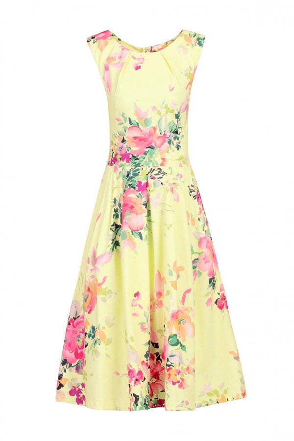 Jolie Moi Floral Print Fold Detail Prom Dress, Yellow Floral