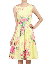 Load image into Gallery viewer, Jolie Moi Floral Print Fold Detail Prom Dress, Yellow Floral