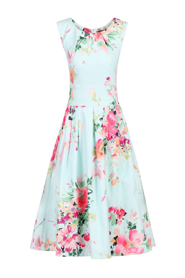 Jolie Moi Detail Prom Dress, Green Floral