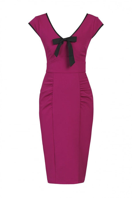 Contrast Trim Bow Detail Wiggle Dress