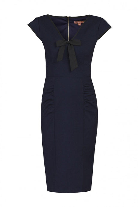 Jolie Moi V Neck Contrast Bow Trim Dress, Navy