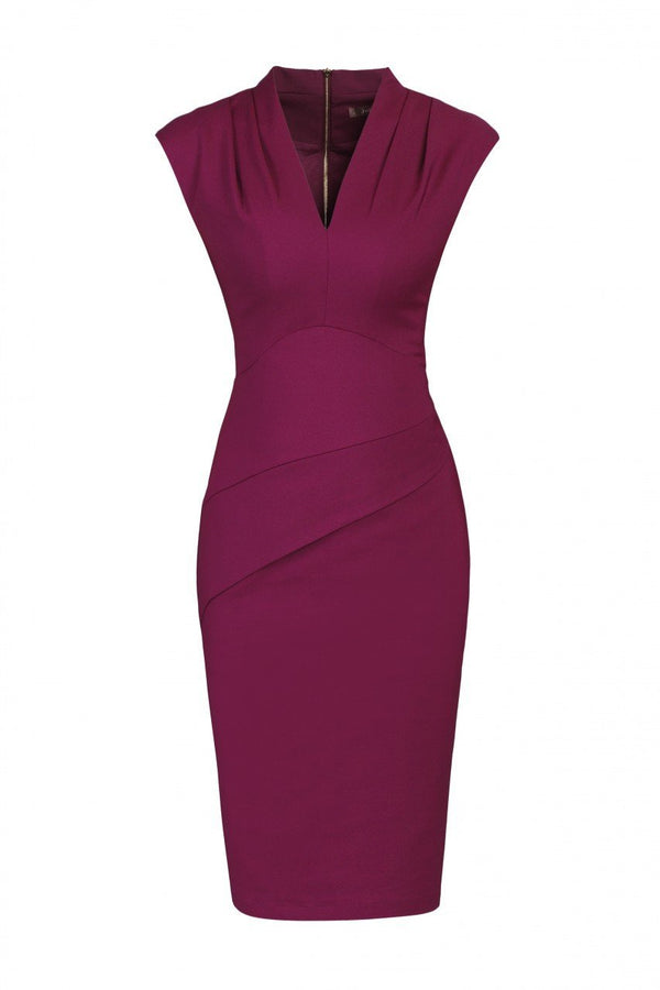 V-Neck Fold Detail Shift Dress