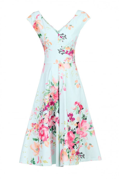 Floral Print Sweetheart Neck Dress