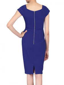 Jolie Moi Crossover Front Ruched Dress, Royal Blue