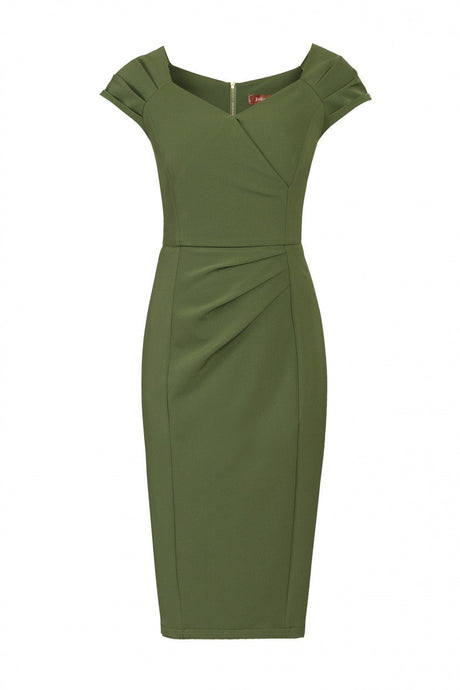 Jolie Moi Crossover Front Ruched Dress, Olive Green