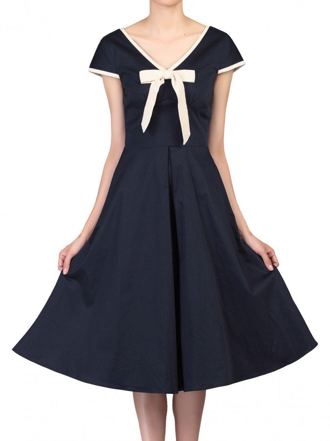 Bow Detail 50s Flare Dress