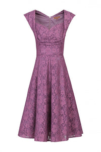 Retro Pleated  Bust Bonded Lace Dress