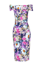 Load image into Gallery viewer, Floral Print Bardot Dress