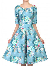 Load image into Gallery viewer, Jolie Moi Floral Half Sleeved Swing Dress, Floral Teal