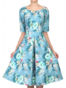 Jolie Moi Floral Half Sleeved Swing Dress, Floral Teal
