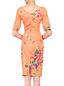 Jolie Moi Orange Floral Print 1/2 Sleeve Dress, Coral